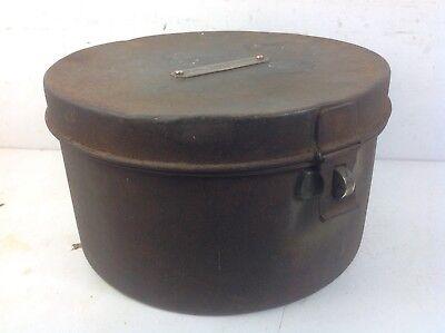 Vintage steel & cast brass catch hinge Plaque storage box old