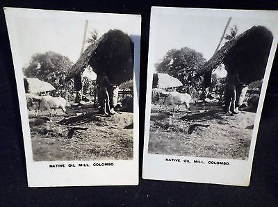 Peeps Into Many Lands No 7 Left & Right Cards Oil Mill Colombo Photographic B/W