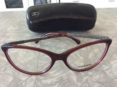 Chanel 3303-b-a Wine Color Cat Eye Glasses With rhinestones cc (Chanel Rhinestone Eyeglasses)
