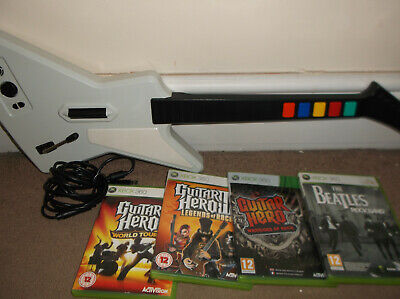 Xbox 360 White Gibson Guitar Hero Wired Controller and Games