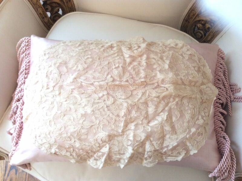 Antique alencon net Lace Victorian Pillow Cover Oval shape Doily As Is vtg