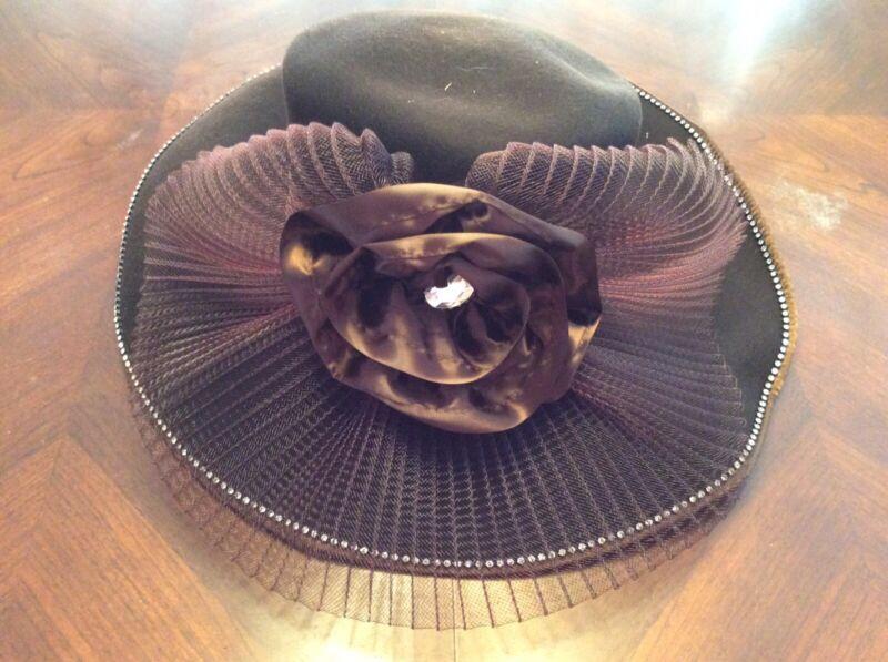 Chocolate Brown Donna Vinci Couture Exclusive Wool Church Hat Rhinestone Satin
