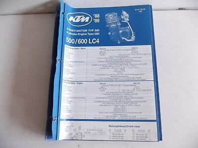 KTM  LC4 500 600  MANUAL OF ENGINE  PARTS  KTM  1989