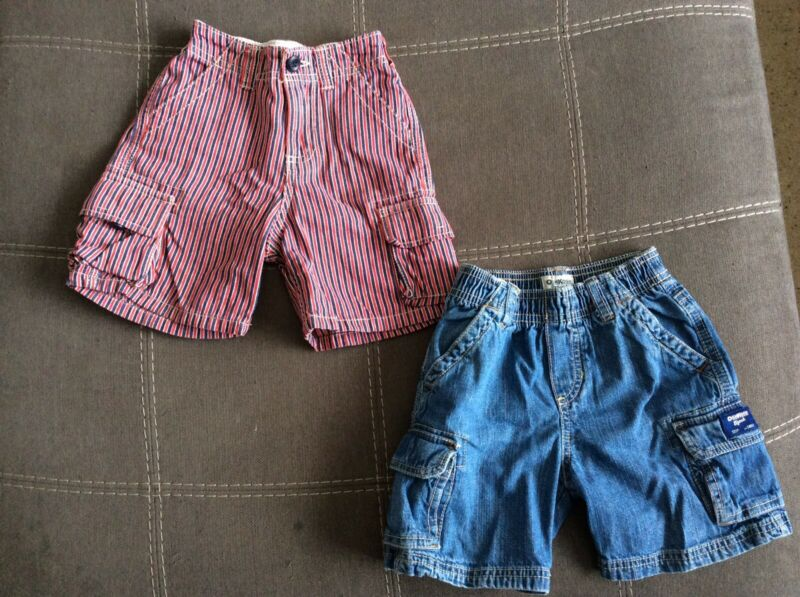Set Lot Of 2 Vintage Oshkosh Bgosh Toddler Boys Denim Cargo Shorts Size 3t