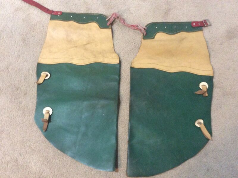 Vintage Leather Cowboy Two-Toned  Chaps - Green / Ivory