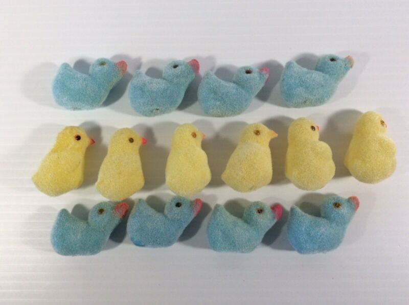 14 Vintage Easter Flocked Plastic Yellow Chick Blue Duck Easter Decorations Used