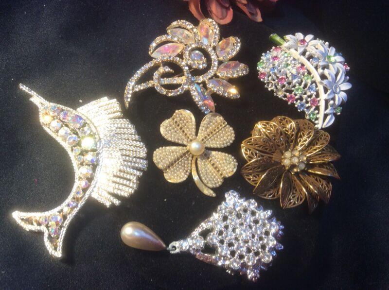 Vintage Deco 6 Pin Brooch Lot France Glass Rhinestone Wear Repair Estate Jewelry