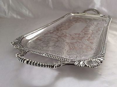 """Fine Quality Antique 25"""" Silver On Copper Chased Footed Butler Tray c.1900"""