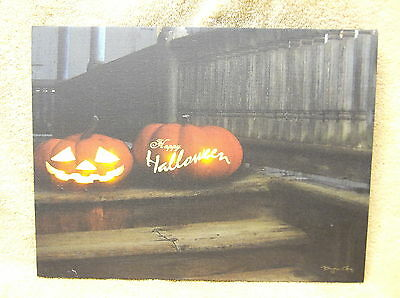 Happy Halloween Lighted Canvas Wall Decor Sign PUMPKINS Fall Autumn Porch - Halloween Porch Decor