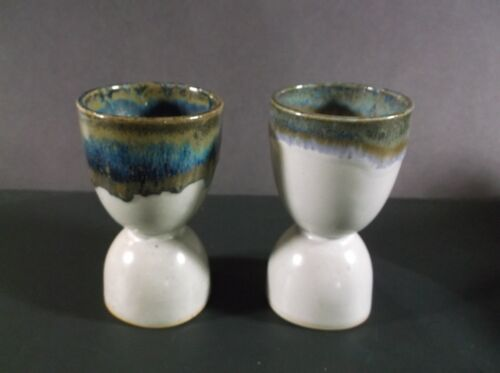 Blue & Brown drip pottery egg cups