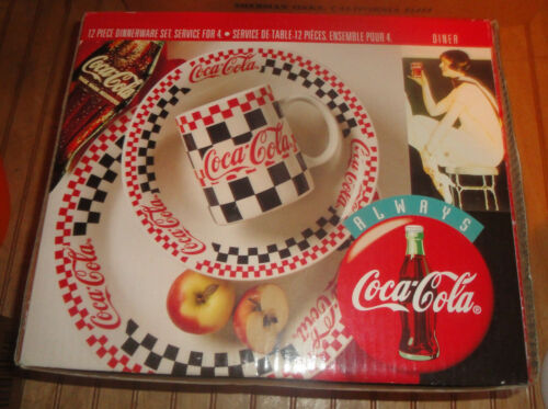 Vintage Gibson Coca Cola 12 Piece Dinnerware Set Checkers Diner new complete NIB