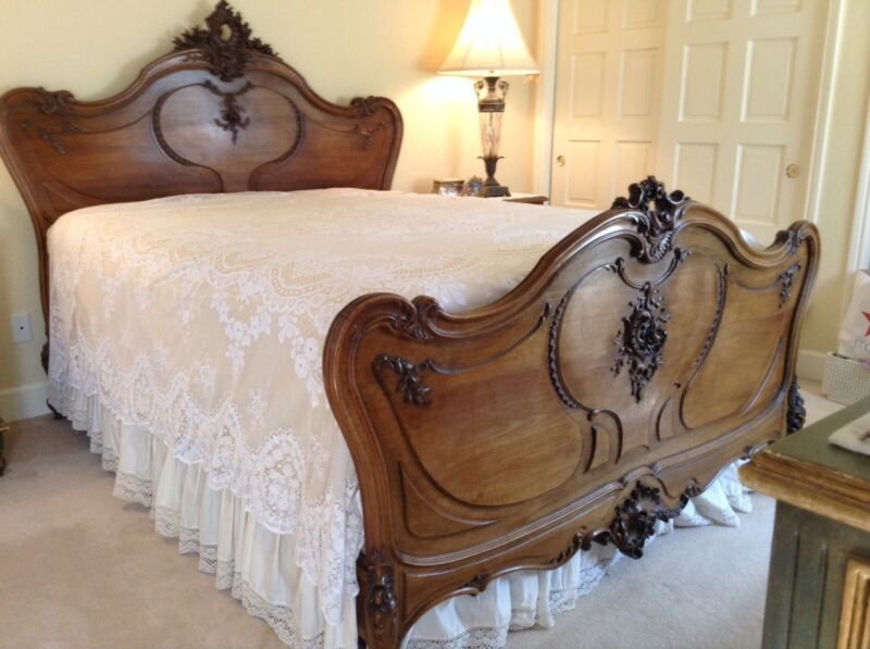 Gorgeous Louis XV french walnut queen bed