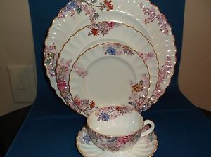 Spode Copeland CHELSEA GARDEN 5 Pc Place Setting Mustard Trim EXC COND