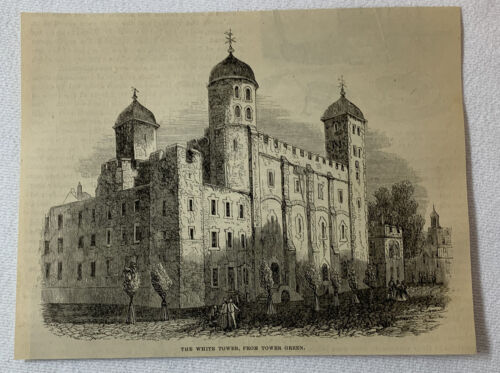 1877 magazine engraving ~ THE WHITE TOWER From Tower Green ~ Tower Of London