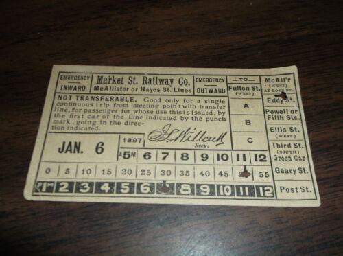 JANUARY 1897 MARKET STREET RAILWAY SAN FRANCISCO CALIFORNIA TICKET