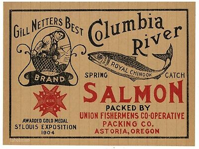 GILL NETTERS BEST Brand, Astoria, Salmon *AN ORIGINAL CASE END CAN LABEL* (Best Canned Salmon Brand)