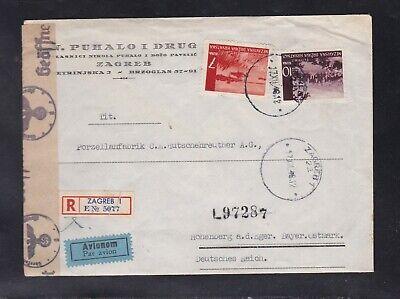 KROATIEN Brief Luftpost Einschreibn Zensur 1943 NDH
