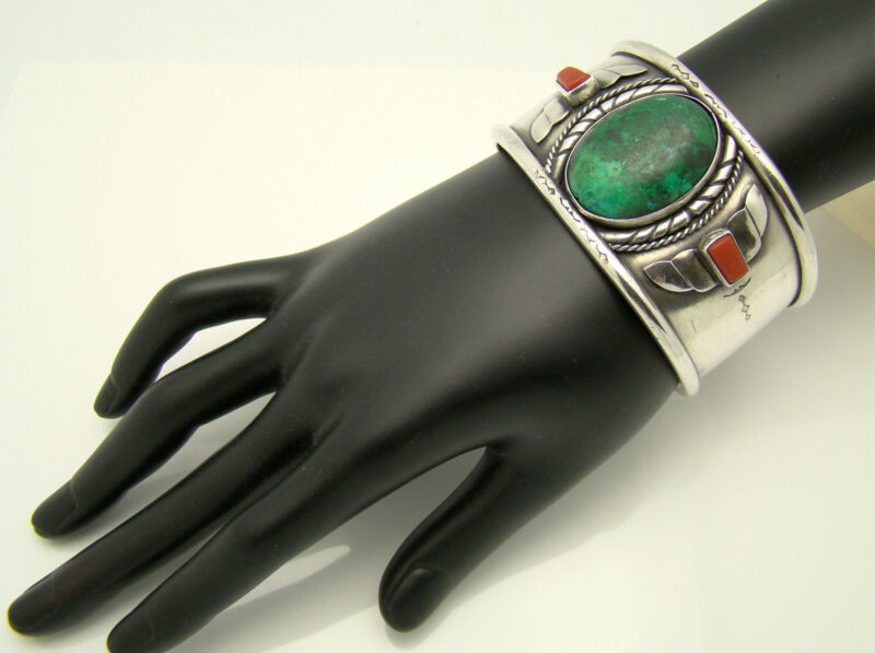 Wide Cuff Silver Bracelet Signed Green Stone & Coral Southwestern 92g Hefty