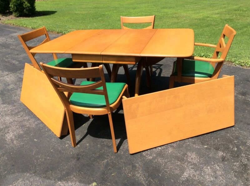 Vtg Heywood Wakefield Dinning Table W/4 Chairs & 2 Leaves - Champagne Very Good