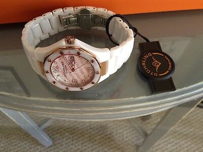 Authentic Stuhrling White Ceramic Watch With Rose Gold Accents NWT