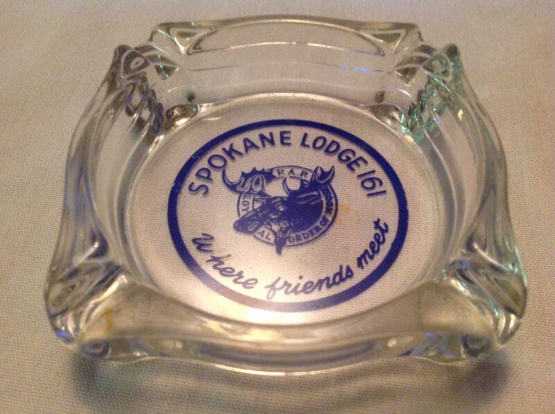 Spokane Loyal Order Of Moose Lodge 161 Vintage Glass Ashtray