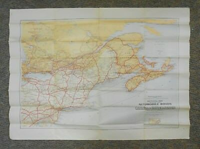 """Dept of Interior 1927 Auto Map Canada United States 40""""x30"""" Sectional Automobile"""