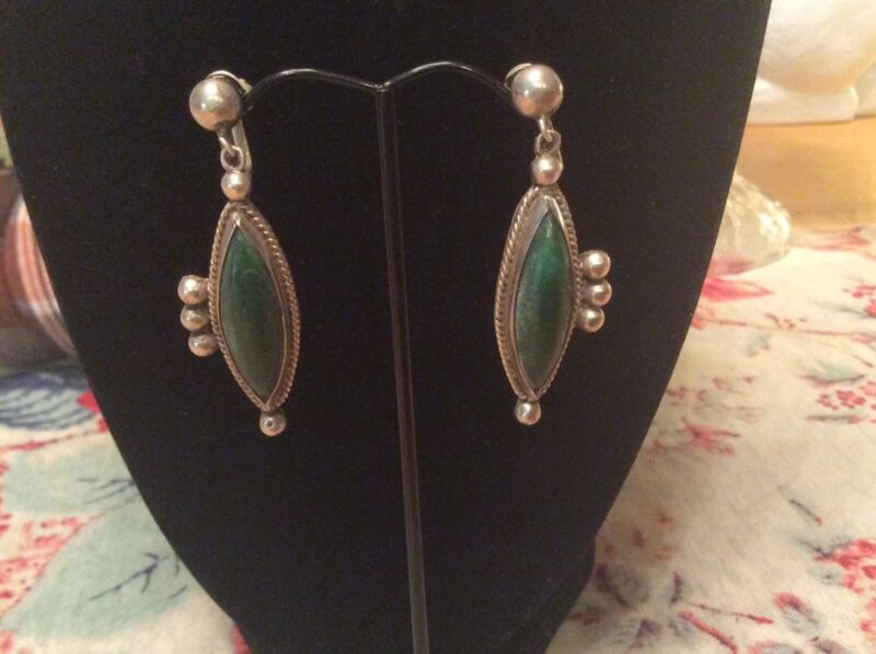 JOSE ANTON Stunning MEXICAN 1930s Sterling And Green Turquoise Vintage Earrings