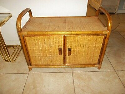 Vintage Rattan Bamboo Mid Century TV Console Stand Cabinet Media Bar Shelf  ()
