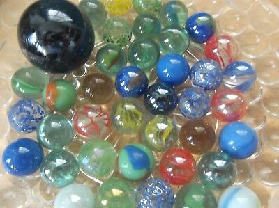 42 Vintage Glass Marbles and One Large Dark Blue Shooter  for sale  Shipping to Canada