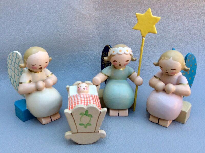 Vintage German Wendt & Kuhn Erzgebirge Wood Nativity Angels Baby Cradle Xmas Set