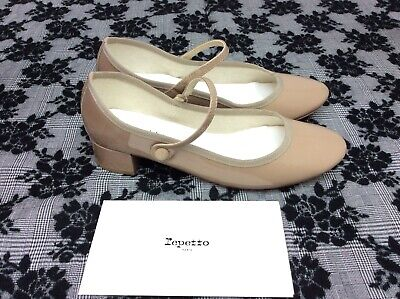 Repetto Rose Monky Brown Patent Mary Jane Heel Pumps Size 40.5 Button Strap Brown Patent Pumps