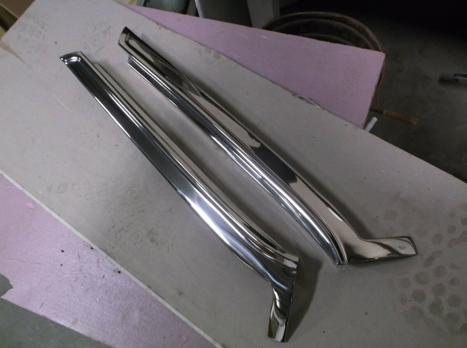 1961-64 Lincoln Continental Exterior Side Windshield Pillars, Stainless Polish