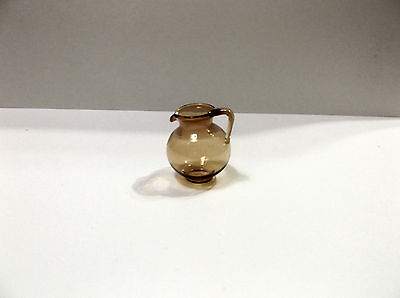 Miniature Doll House Glass Pitcher in Amber Color