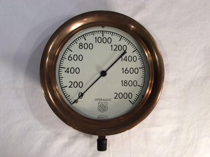 "Vintage Large/Beautiful 10"" Brass Ashcroft Hydraulic Pressure Gauge 0-2000 PSI"