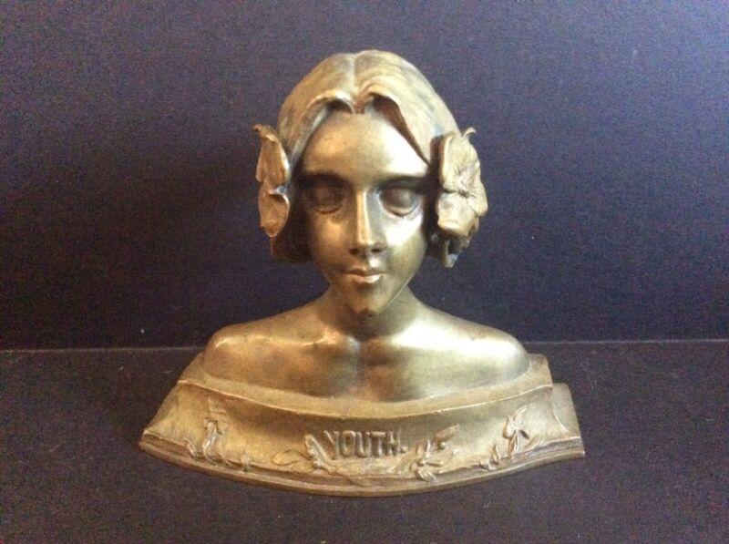Art Nouveau Bronze Bust 'Youth'