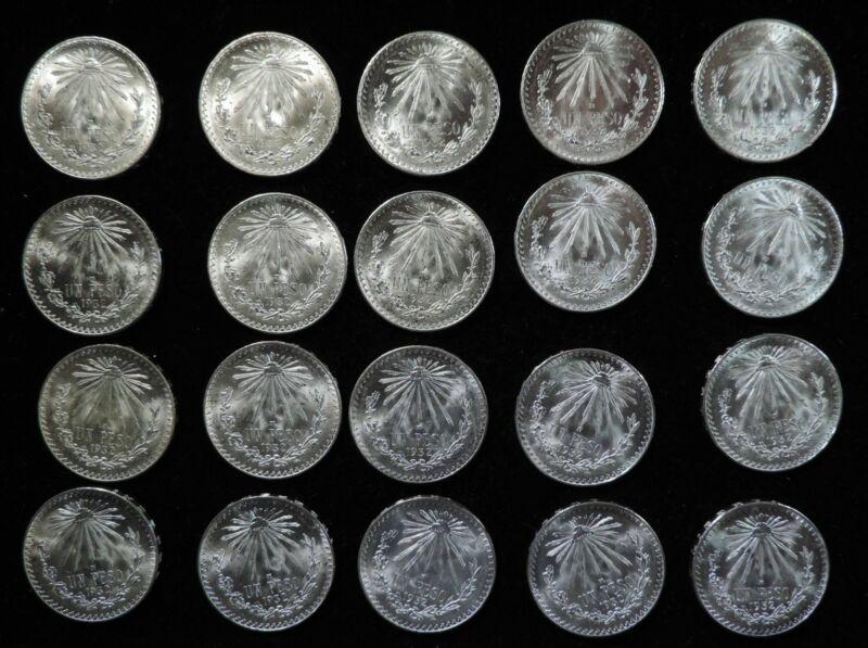 Original BU Brilliant Uncirculated Roll of 20 1932 Mexico 1 Un Peso Silver Coins