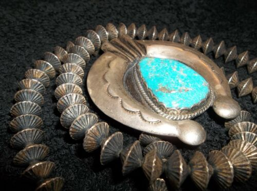 XXX RARE OLD PAWN NAVAJO SILVER FLUTED HOGAN BENCH BEADS NAJA TURQUOISE STERLING