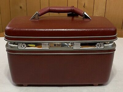 Vtg SAMSONITE PROFILE II Burgundy Cosmetic Toiletry TRAIN CASE No Tray Or Key