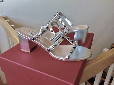 Women's Valentino Rockstud City Slide Sandals shoes Silver Metallic Sz 36 NIB