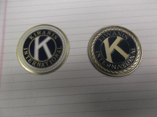 "KIWANIS International trophy parts mixed lot of 2 metal insert 2"" diameter"