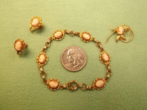 GORGEOUS VTG ART NOUVEAU DECO GOLD FILLED CAMEO BRACELET-EARRINGS-BROOCH-PIN SET
