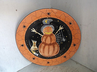 Halloween Laurie Gates Ware Pumpkin Snowman & Spiders Dinner Plate 11