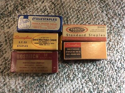 Vintage Lot Of 5 Staple Boxes With Staples