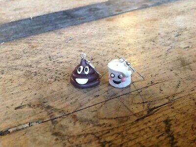 Earrings Emoji Poo Poop Paper Toilet Handmade Christmas Gift Ideas Stocking - Christmas Jewelry Ideas
