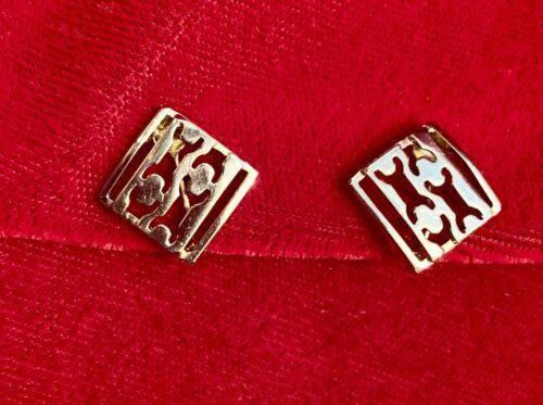 Vintage VITOGE Gold Tone Square Cutout Design Clip On Earrings Signed EUC  - $1.00