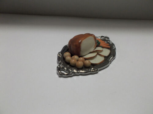 Miniature Dollhouse Turkey, Carrots, Peas and Potatoes on a Silver Platter