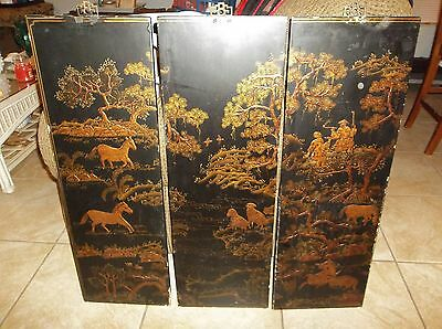 3 VINTAGE ORIENTAL WALL PANELS BLACK LACQUER INLAID WOOD RAISED