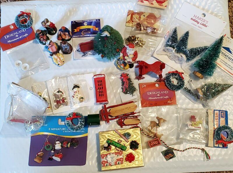 Lot Of Vintage Christmas Dollhouse Miniatures 1:12 w/ Artisan items