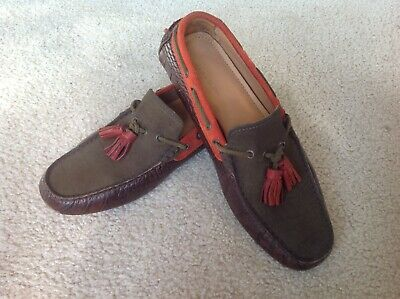 Zara Man Men's Boat Loafer Shoes Brown Orange Leather US 7 (EU 40) Pre Owned