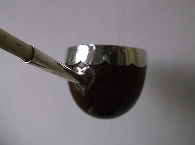 RARE ANTIQUE 18TH C TODDY LADLE COCONUT WITH SILVER MOUNTS AND LAMB BONE HANDLE